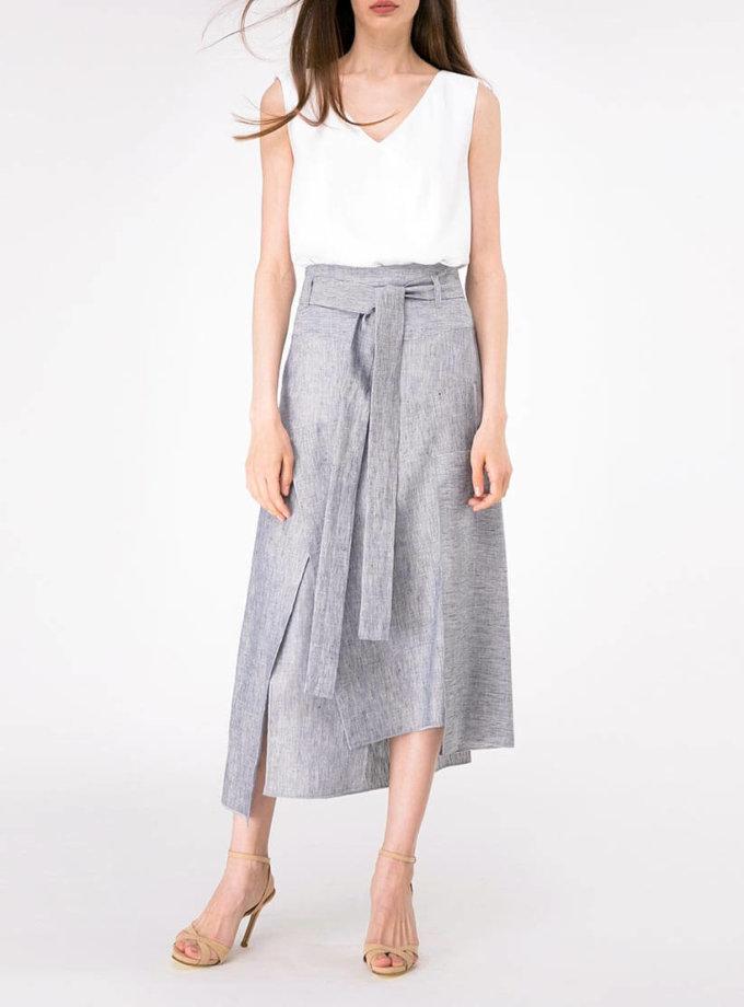 Льняная юбка с асимметричным низом SHKO-18028001, фото 1 - в интернет магазине KAPSULA