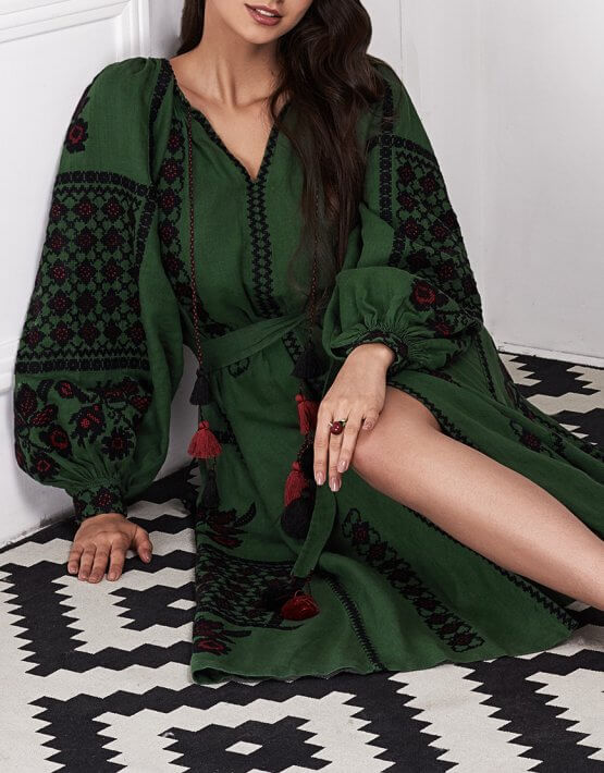 Платье-вышиванка «Зелёный шик» FOBERI_01108, фото 12 - в интеренет магазине KAPSULA