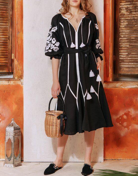 Льняное платье на пляж Ночной цветок FOBERI_01158, фото 11 - в интеренет магазине KAPSULA