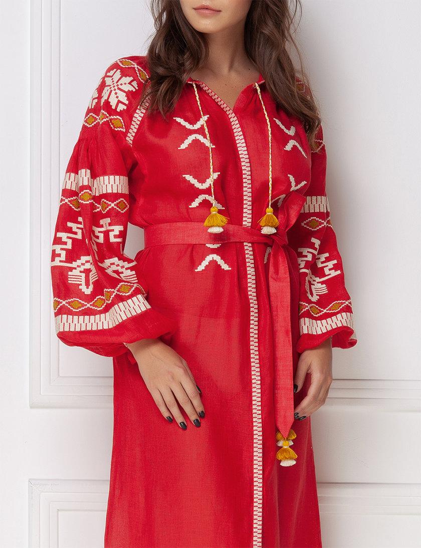 Вышитое платье миди из льна FOBERI_ss19056, фото 1 - в интернет магазине KAPSULA