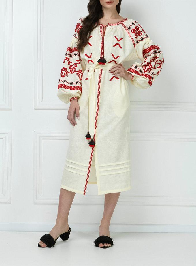 Платье-вышиванка из льна FOBERI_ss19057, фото 1 - в интернет магазине KAPSULA