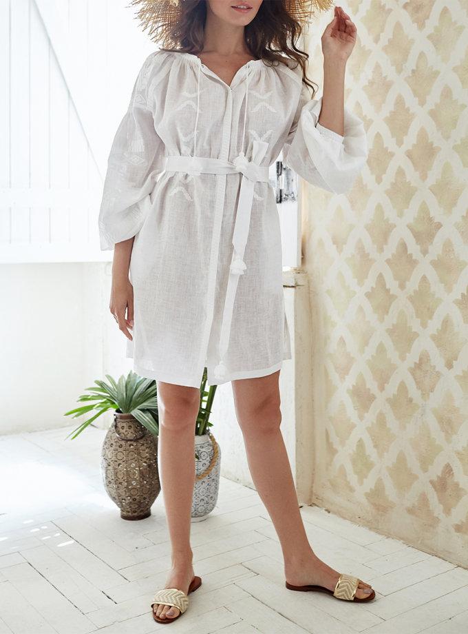 Платье-вышиванка из льна FOBERI_ss19069, фото 1 - в интернет магазине KAPSULA