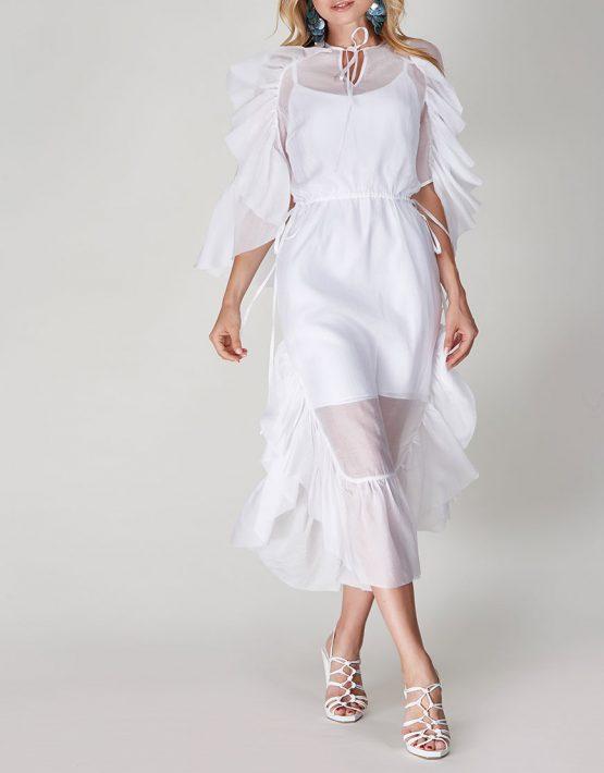 Двухслойное платье  с оборками CVR-SS201913, фото 8 - в интеренет магазине KAPSULA