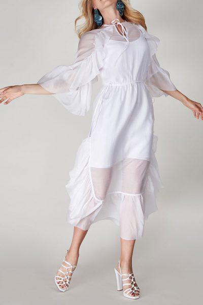 Двухслойное платье  с оборками CVR-SS201913, фото 1 - в интеренет магазине KAPSULA