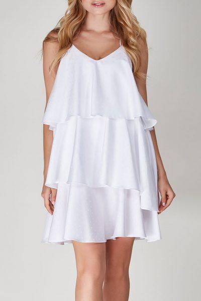 Ярусное платье в белые сердечки CVR-SS201918, фото 1 - в интеренет магазине KAPSULA