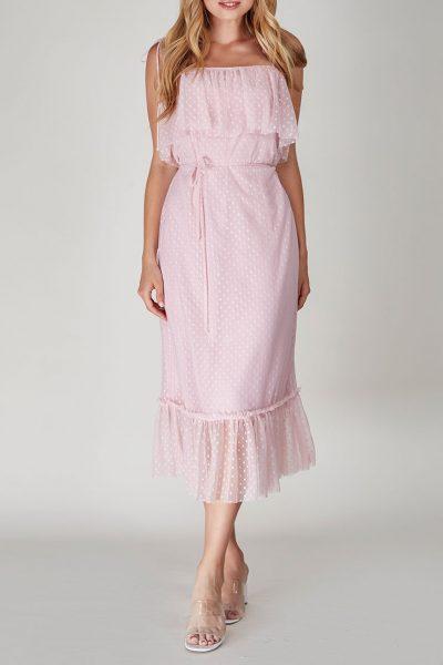 Платье в горох с поясом CVR-SS201927, фото 1 - в интеренет магазине KAPSULA