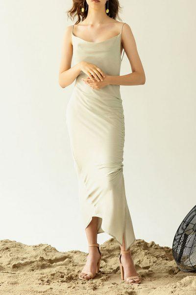 Хлопковое платье на затяжках IRRO_SM19_DR_016, фото 1 - в интеренет магазине KAPSULA