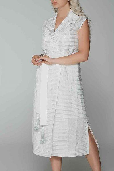 Платье миди в серебряную полоску WNDR_ss19_dss06, фото 2 - в интеренет магазине KAPSULA