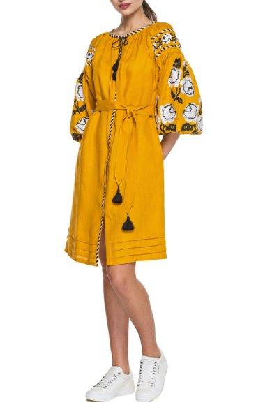 Льняное платье с вышивкой Rose BZN_D42PRS-10011000, фото 1 - в интеренет магазине KAPSULA