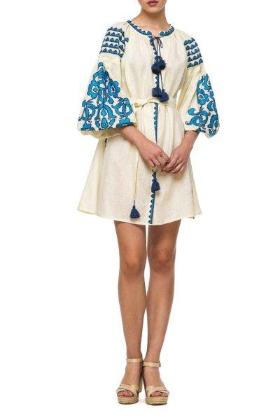 Льняное платье с вышивкой Bazena BZN_D62MSF-33283975, фото 1 - в интеренет магазине KAPSULA