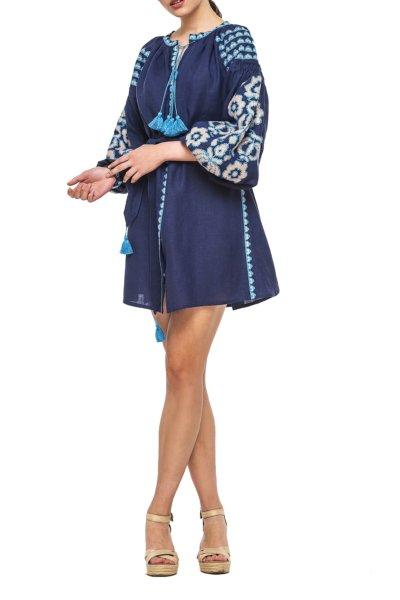 Льняное платье с вышивкой Bazena BZN_D62NSF-38843983, фото 1 - в интеренет магазине KAPSULA