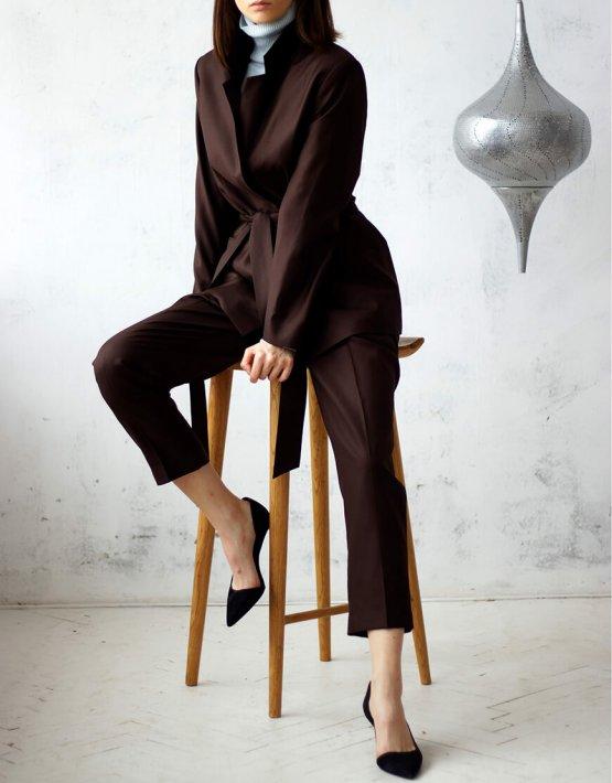 Костюм из шерсти с поясом FRBC_01-KBSH-brown, фото 12 - в интеренет магазине KAPSULA