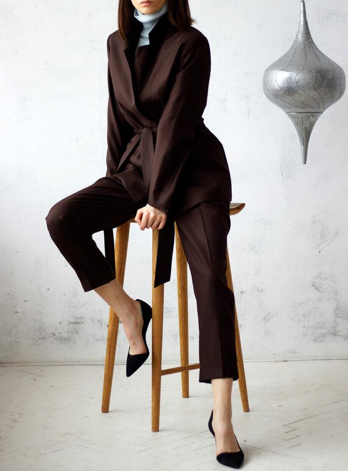 Костюм из шерсти с поясом NBL_01-KBSH-brown_outlet, фото 1 - в интернет магазине KAPSULA