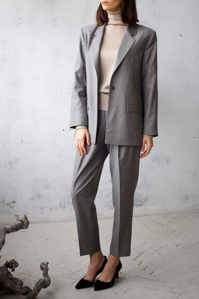 Жакет из шерсти с поясом NBL_01-KBSH-grey-jaket, фото 6 - в интеренет магазине KAPSULA