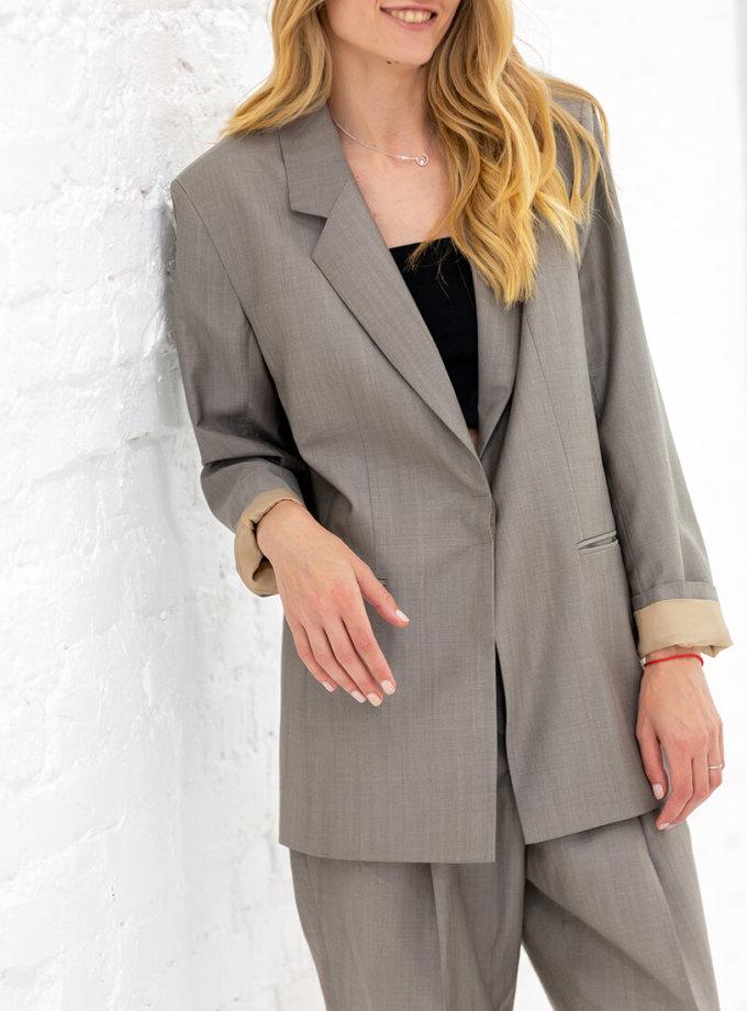 Жакет из шерсти с поясом NBL_01-KBSH-grey-jaket, фото 1 - в интернет магазине KAPSULA