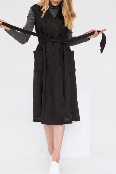 Льняное платье с поясом NBL_09-PTL-black_outlet, фото 5 - в интеренет магазине KAPSULA