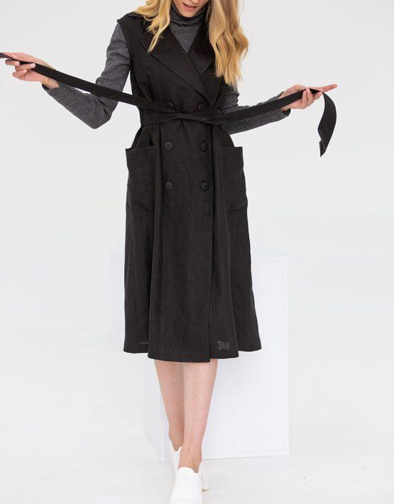 Льняное платье с поясом FRBC_09-PTL-black, фото 1 - в интеренет магазине KAPSULA