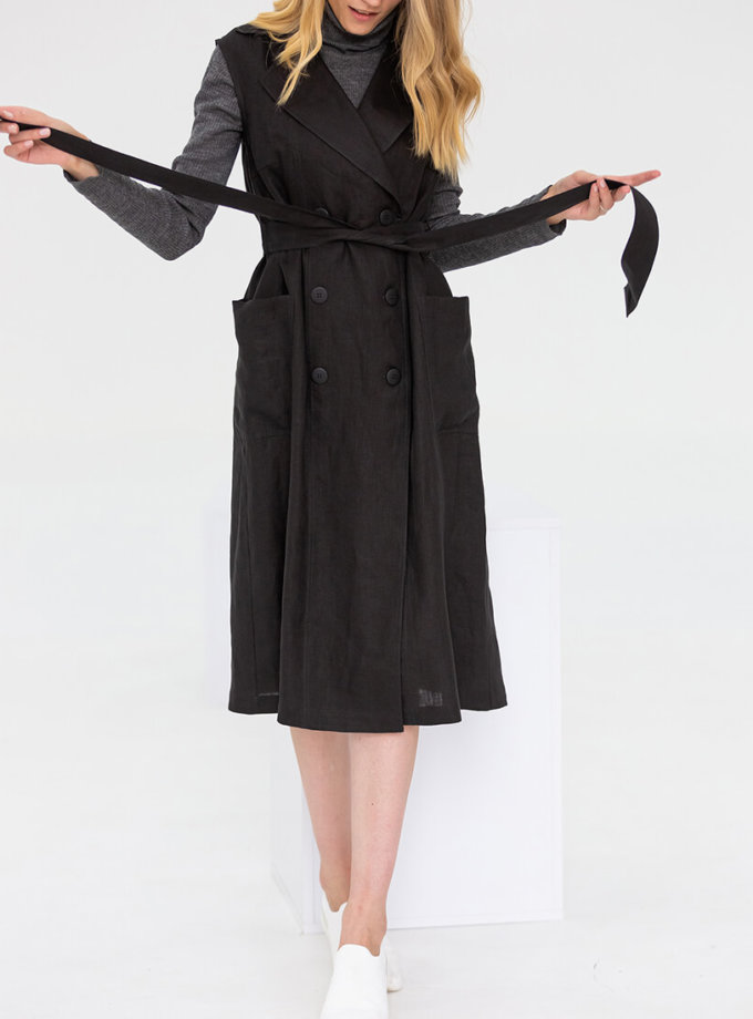 Льняное платье с поясом NBL_09-PTL-black_outlet, фото 1 - в интернет магазине KAPSULA