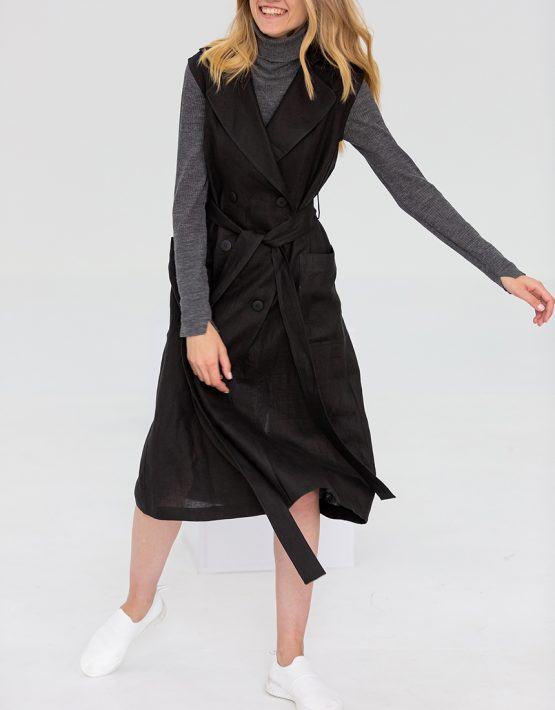 Льняное платье с поясом FRBC_09-PTL-black, фото 2 - в интеренет магазине KAPSULA
