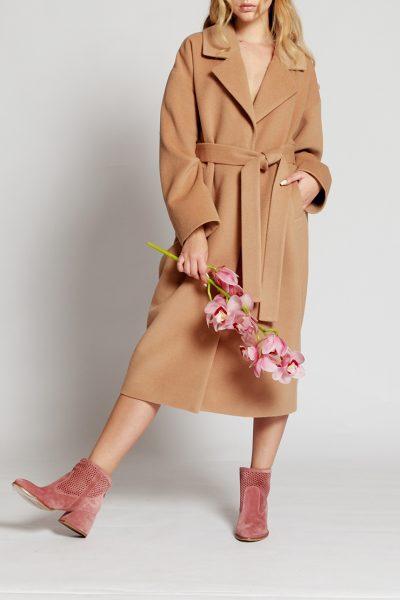 Пальто на подкладе с поясом MMT_024.-beige, фото 1 - в интеренет магазине KAPSULA