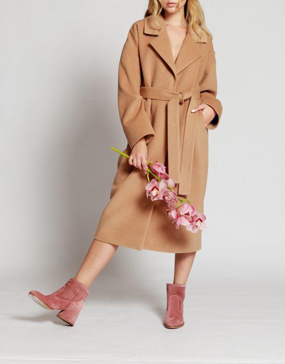 Пальто на подкладе с поясом MMT_024.-beige, фото 3 - в интеренет магазине KAPSULA