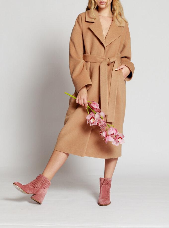 Пальто на подкладе с поясом MMT_024.-beige, фото 1 - в интернет магазине KAPSULA