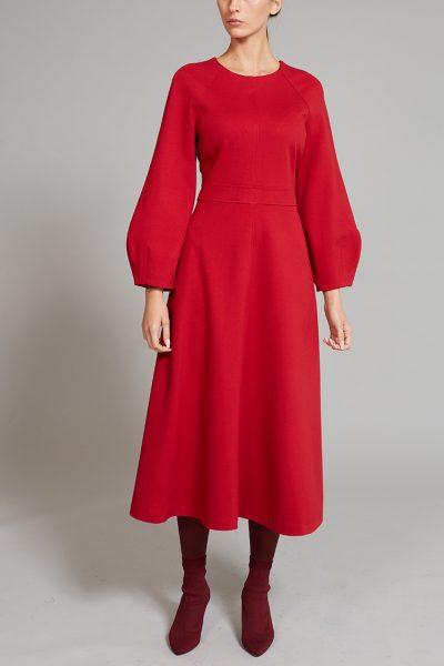 Платье с объемными рукавами VONA_FW-19-20-15, фото 1 - в интеренет магазине KAPSULA