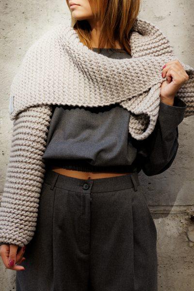 Длинный шарф крупной вязки BEIGE FRBC_13-SBL, фото 1 - в интеренет магазине KAPSULA