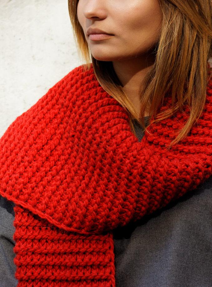 Длинный шарф крупной вязки RED NBL_13-SCRL, фото 1 - в интеренет магазине KAPSULA