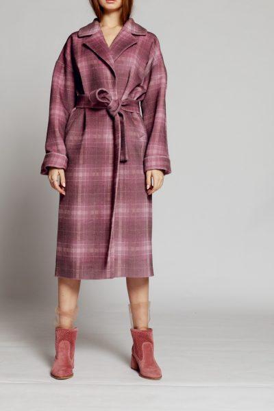 Пальто в клетку на подкладе с поясом MMT_024.-lilac-print, фото 1 - в интеренет магазине KAPSULA