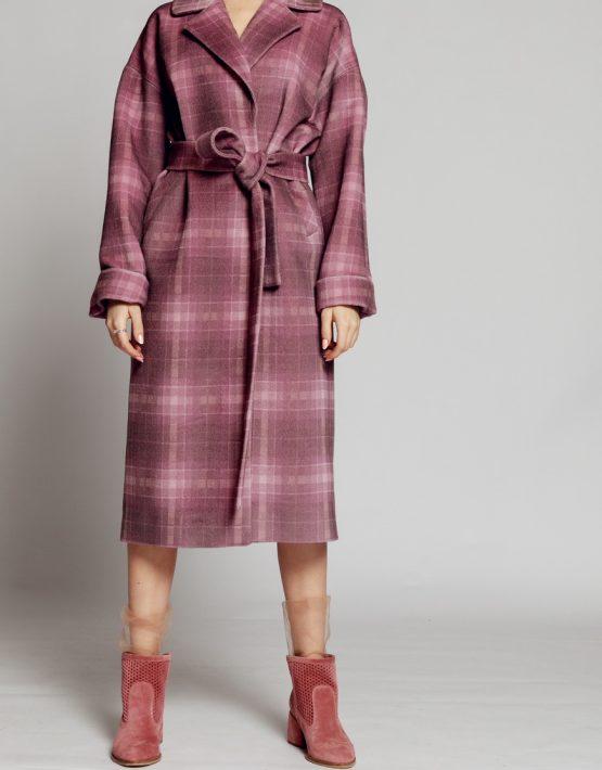 Пальто в клетку на подкладе с поясом MMT_024.-lilac-print, фото 4 - в интеренет магазине KAPSULA