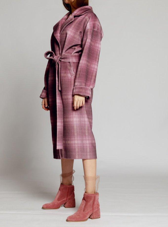 Пальто в клетку на подкладе с поясом MMT_024.-lilac-print, фото 1 - в интернет магазине KAPSULA