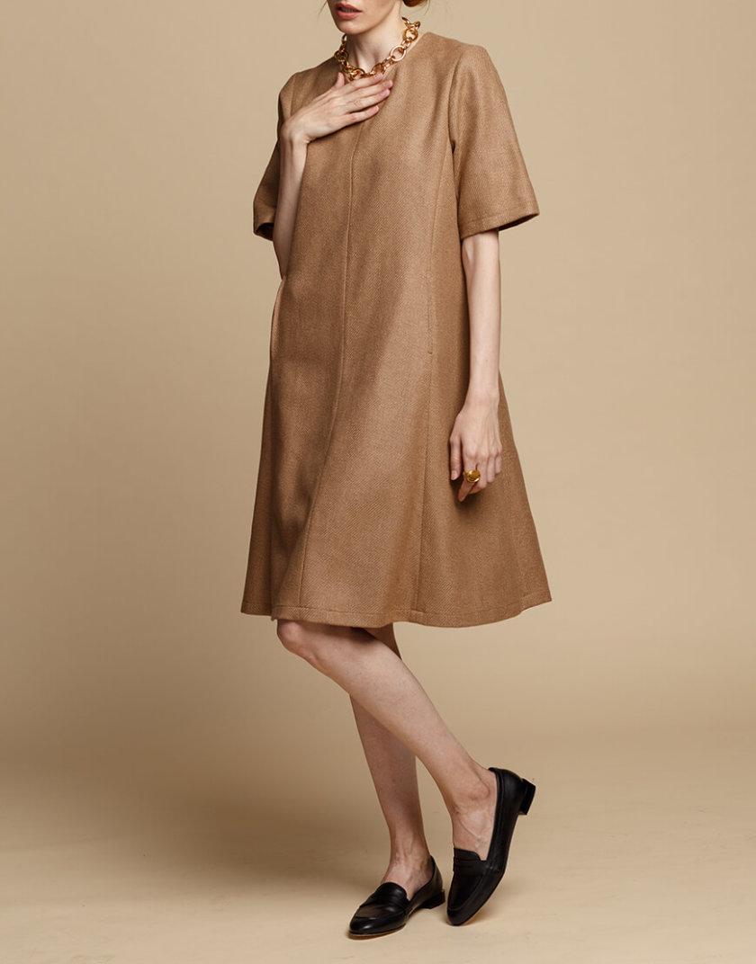 Шерстяное платье-трапеция INS_FW1920_11_02, фото 1 - в интернет магазине KAPSULA