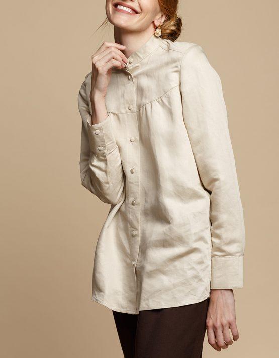 Льняная блуза на пуговицах INS_FW1920_9, фото 4 - в интеренет магазине KAPSULA