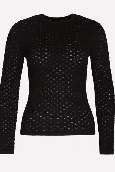 Мериносовый ажурный джемпер JND_19-010227-black, фото 1 - в интеренет магазине KAPSULA