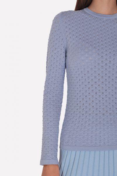 Мериносовый ажурный джемпер JND_19-010227-blue, фото 1 - в интеренет магазине KAPSULA