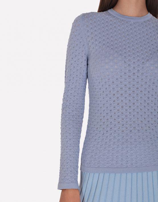 Мериносовый ажурный джемпер JND_19-010227-blue, фото 5 - в интеренет магазине KAPSULA