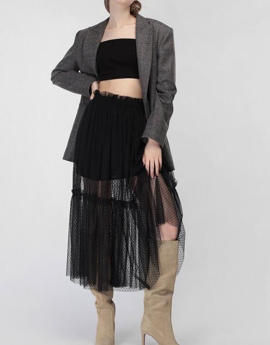 Двухслойная юбка с оборкой MISS_SK-008-black_outlet, фото 4 - в интеренет магазине KAPSULA