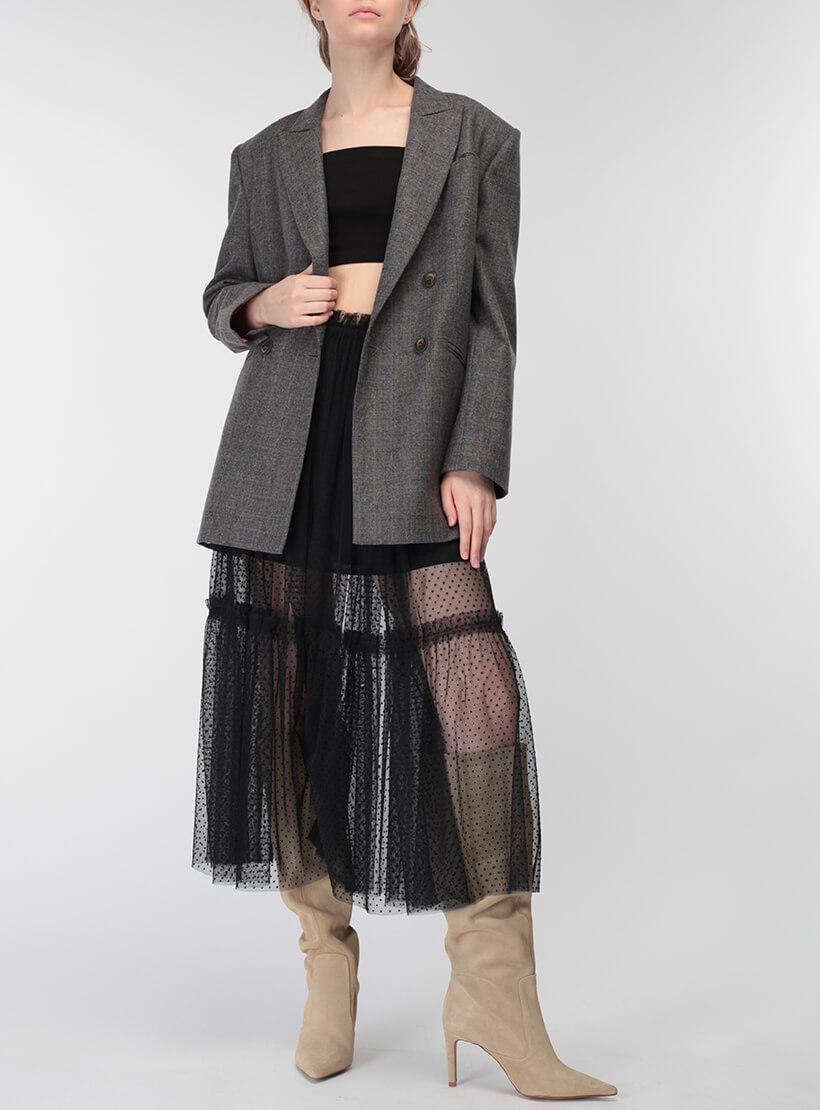 Двухслойная юбка с оборкой MISS_SK-008-black_outlet, фото 1 - в интернет магазине KAPSULA