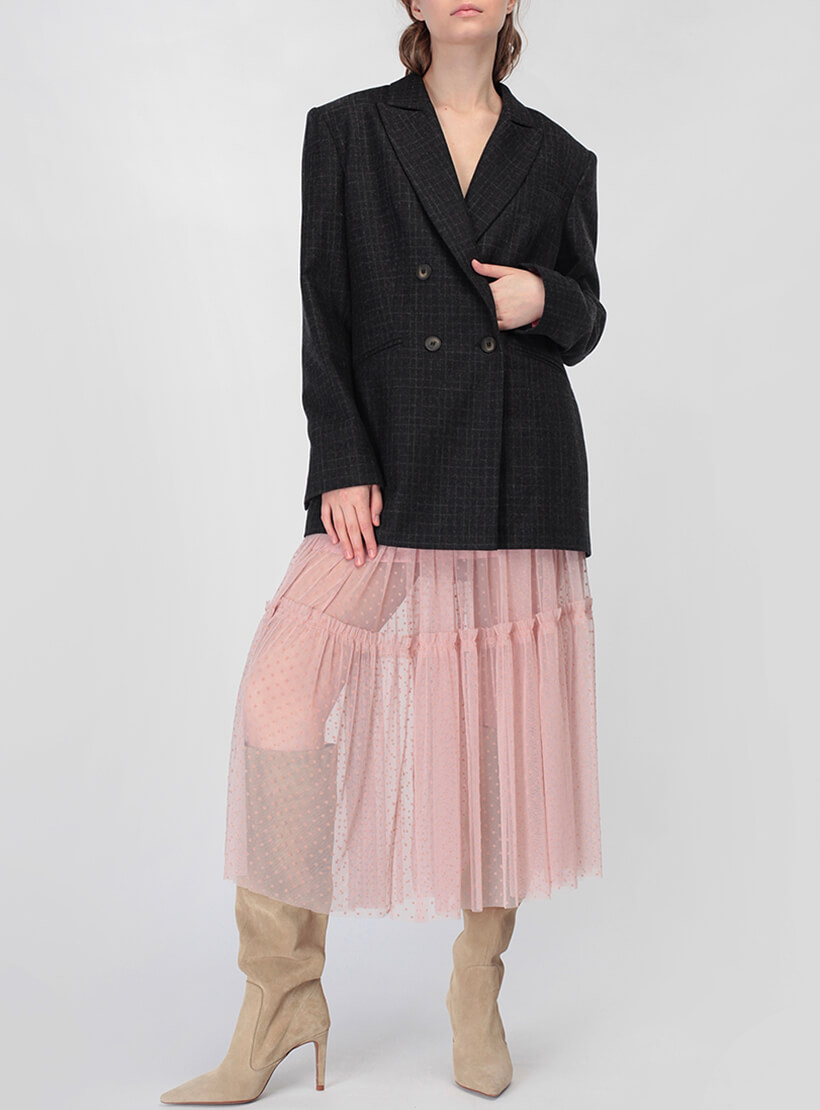 Двухслойная юбка с оборкой MISS_SK-008-pink_outlet, фото 1 - в интернет магазине KAPSULA