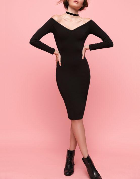 Платье с открытыми плечами OTS_1638-black, фото 3 - в интеренет магазине KAPSULA
