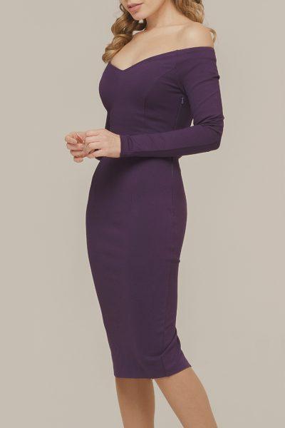 Платье с открытыми плечами OTS_1638-plum, фото 1 - в интеренет магазине KAPSULA