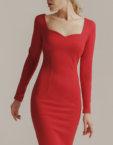 Платье с открытыми плечами OTS_1638-plum, фото 3 - в интеренет магазине KAPSULA