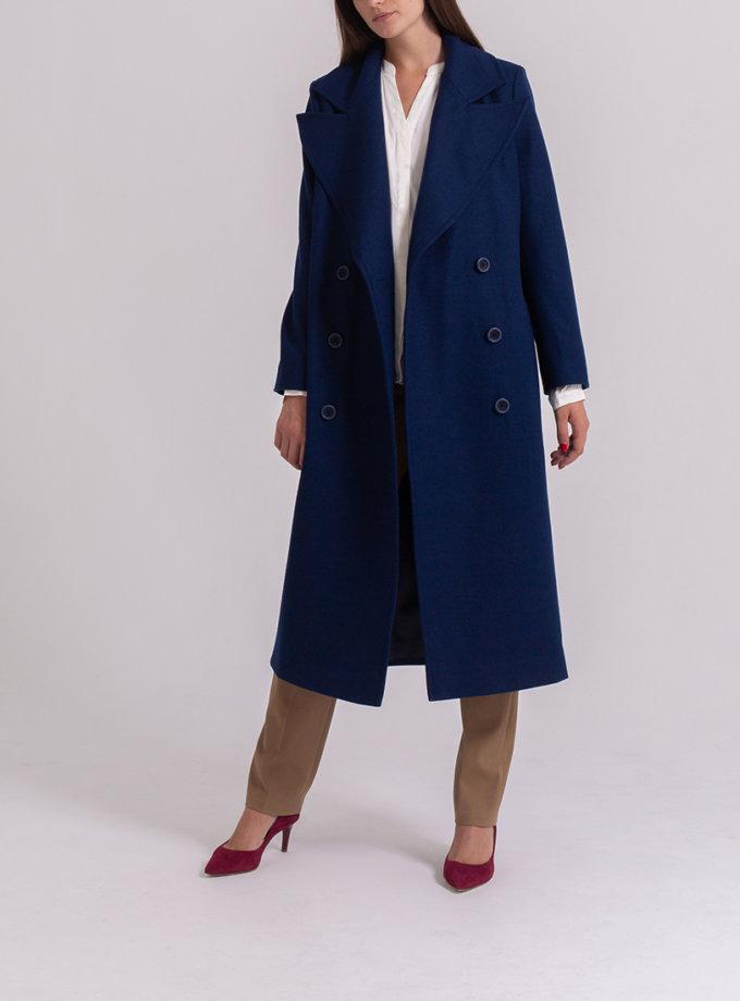 Двубортное пальто из шерсти PPM_PM-56_navy, фото 1 - в интернет магазине KAPSULA
