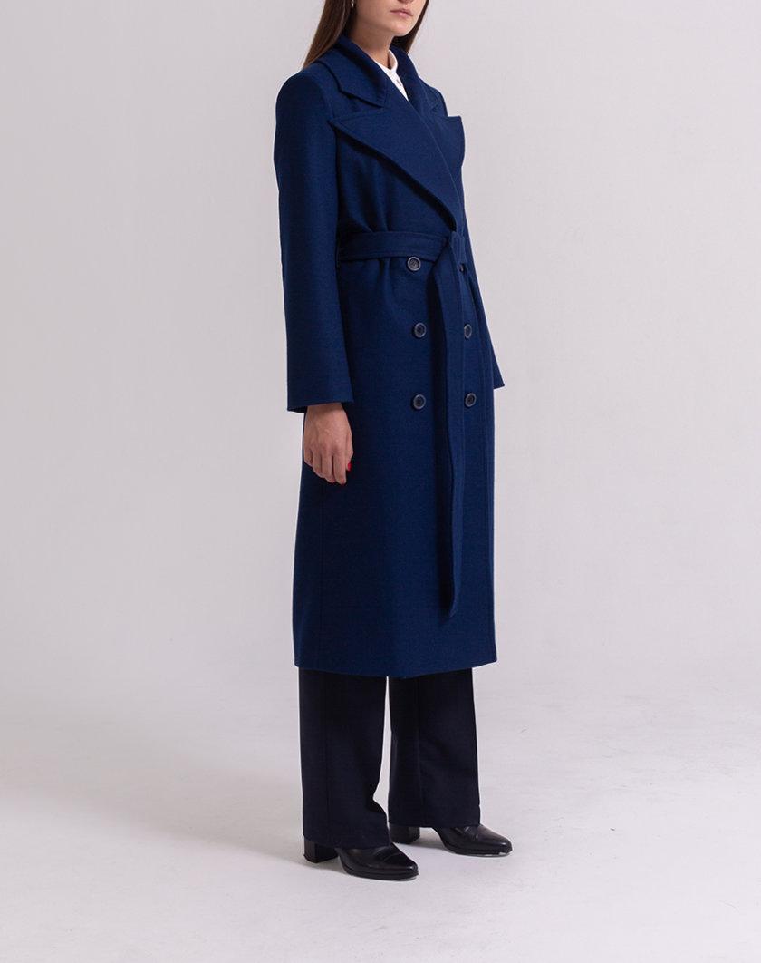 Двубортное пальто из шерсти PPM_PM-56_navy, фото 1 - в интеренет магазине KAPSULA