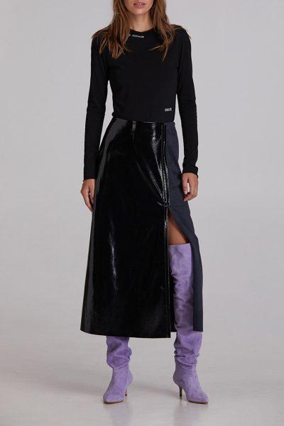 Лаковая юбка с разрезом SAYYA_FW928-1, фото 7 - в интеренет магазине KAPSULA