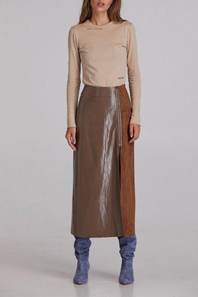 Лаковая юбка с разрезом SAYYA_FW928, фото 1 - в интеренет магазине KAPSULA