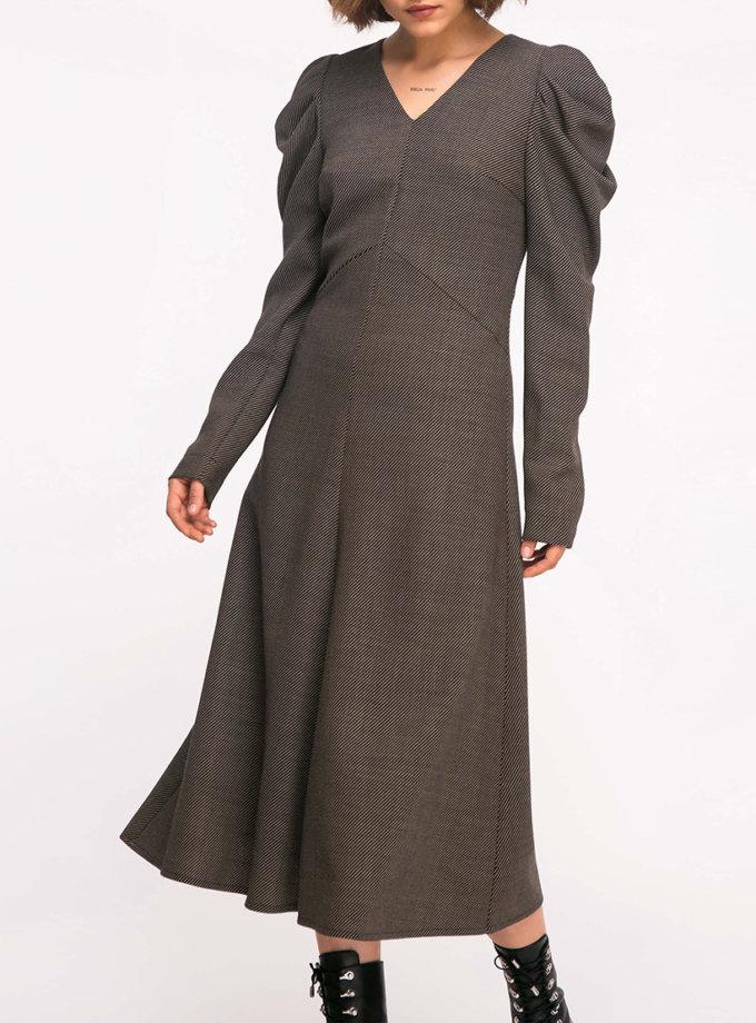 Шерстяное платье с рукавами-буфами SHKO_19005003, фото 1 - в интернет магазине KAPSULA