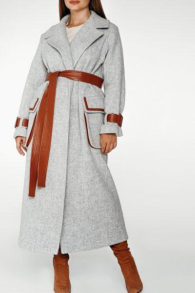 Шерстяное пальто с контрастными вставками coatfw1920_greybrown, фото 8 - в интеренет магазине KAPSULA