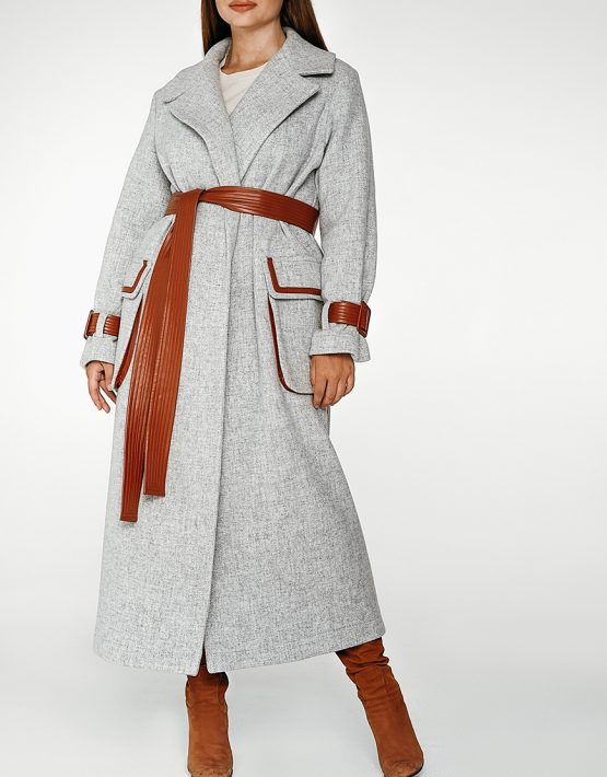 Шерстяное пальто с контрастными вставками coatfw1920_greybrown, фото 10 - в интеренет магазине KAPSULA